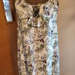 Max Studio Medium Floral Cream Dress Size Medium